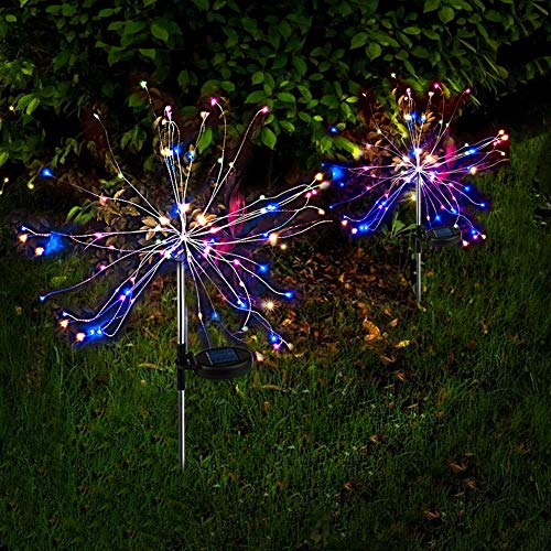 Outdoor Solar Garden Stake Lights Solar Firework Lights Colorful 105 LEDs Solar Powered String Light with 2 Lighting Modes Twinkling and Steady-ON for Garden, Patio, Yard, Flowerbed, Parties