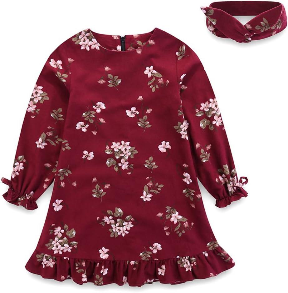 رداء للفتيات الصغيرات من Arbag ملابس عيد الميلاد من القطن للأطفال مطبوع عليه أزهار فستان للفتيات مع عصابة رأس