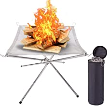 Portable Outdoor Fire Pit, Foldable Stainless Steel Mesh Fireplace for Camping, Patio, Backyard, Gardenwith, Travel, Barbe...
