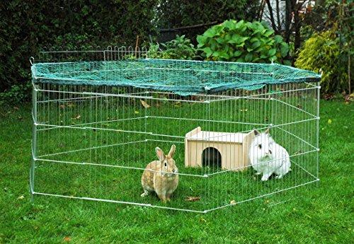 dobar 80605 Großes Kaninchengehege aus 6 Elementen, mit Nylon Netz und Holzhaus, XXL Freilauf für Hasen, Freilaufgehege XL, 165 x 145 x 60 cm, Silber - 4