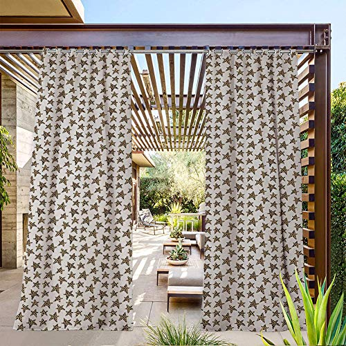 FOEYESEE Extra Wide Outdoor Curtains Skin of Leopard Pattern Punk Rock Themed Illustration Abstract Animal Design Beige Black White for Porch/Doorway 120x84 Inch