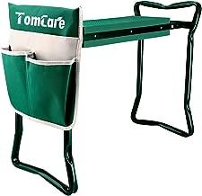 TomCare Garden Kneeler Seat Garden Bench Garden Stools Foldable Stool with Tool Bag Pouch EVA Foam Pad Outdoor Portable Kneeler for Gardening(Large-21.65