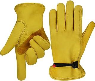 OLSON DEEPAK Work gloves Adjustable Wrist Tough Cowhide Leather Gardening Gloves,good grip for Logging/Wood Cutting/Forest Work/Driving(Large)