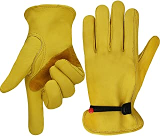 OLSON DEEPAK Work gloves Leather Gardening Glove with Ball and Tape Wrist Closure, Garden Gloves,Flex & Good Grip for Logging/Wood Cutting/Forest Work/Driving - Perfect Fit for Men & Women(Large)