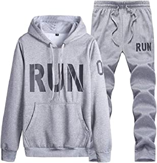 Sodossny-AU Men's Workout Patterns Two-Piece Sets Letter Running Jogger Hoodies Tracksuits
