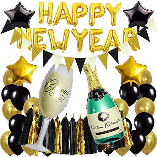 Zerodeco Forniture per Feste di Capodanno, Ghirlanda di Happy New Year Nera e Oro Bottiglia Stella Palloncini Foil Champagne Ghirlanda Triangolare Palloncino