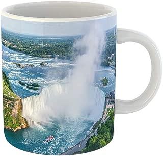 Emvency Coffee Tea Mug Gift 11 Ounces Funny Ceramic Blue Tourism Niagara Falls Aerial View Canadian Canada Mist Gifts For Family Friends Coworkers Boss Mug