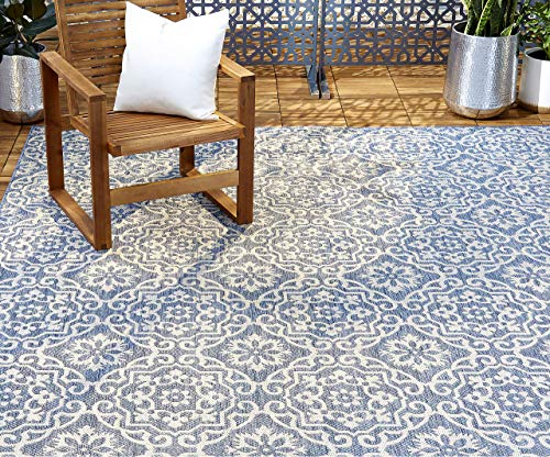 "Home Dynamix Patio Country Danica Area Rug, 6'6""x9'2"", Blue/Gray"