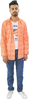 Matelco Men's Regular Fit Cotton Shirt with Inner Attach (A-14-Ad07Ds901Pc_Peach)
