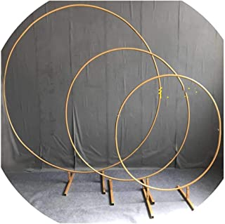 Pink-star Circle Wedding Arch Background Wrought Iron Shelf Decorative Props DIY Round Party Background Shelf Flower with Frame,Gold,250cm