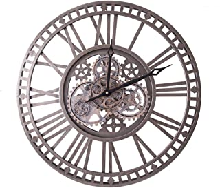 WOERD Horloge Murale à Engrenages Mobiles 3D Horloge Steampunk Sculpture De Roue Grand Facile à Lire avec des Chiffres Rom...
