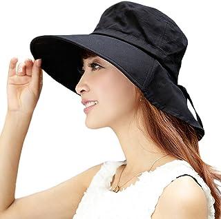 SIGGI Womens Verano Solapa Pac algodón UPF 50+ Sol sombra Sombrero con cordón para el cuello