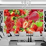Frais fraise Fruit Photographie Fond Décor Murale Cuisine Restaurant Restaurant TV Toile de fond 3D Photo Papier Peint Muraux 120X100CM