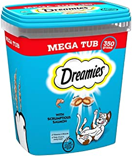 Dreamies kattgodis, välsmakande mellanmål med utsökt lax, 2 badkar på 350 g