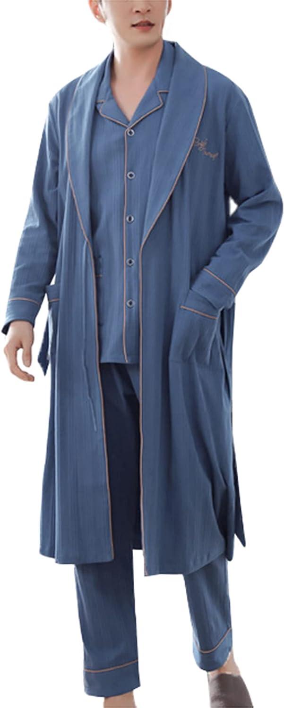 Men's 3-Piece Nightgown Pajamas Set Cotton Long-Sleeved Bathrobe Long Homewear Loungewear Sleepwear Men's Pjs Suit
