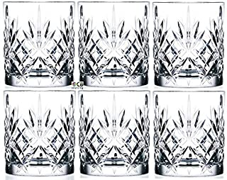 Set Of 6 Double Old Fashioned Crystal Glassware Set, Perfect for serving scotch, whiskey or mixed drinks (Set of 6-9 Oz DOF Glasses)