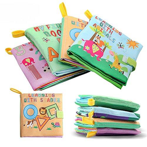 赤ちゃんのはじめての絵本に 布絵本  破れない 数字 図形 英字アルファベット 動物 おでかけ  ソフトブック 布のおもちゃ 子供絵本 知育玩具 学習多機能 4本セット