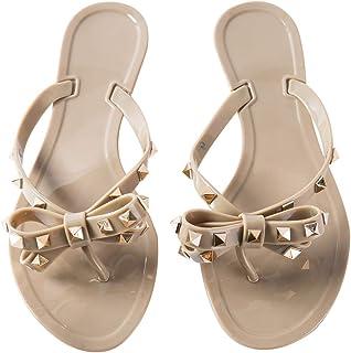 Womens Rivets Bowtie Flip Flops Jelly Thong Sandal Rubber Flat Summer Beach Rain Shoes Brown Size: 6.5