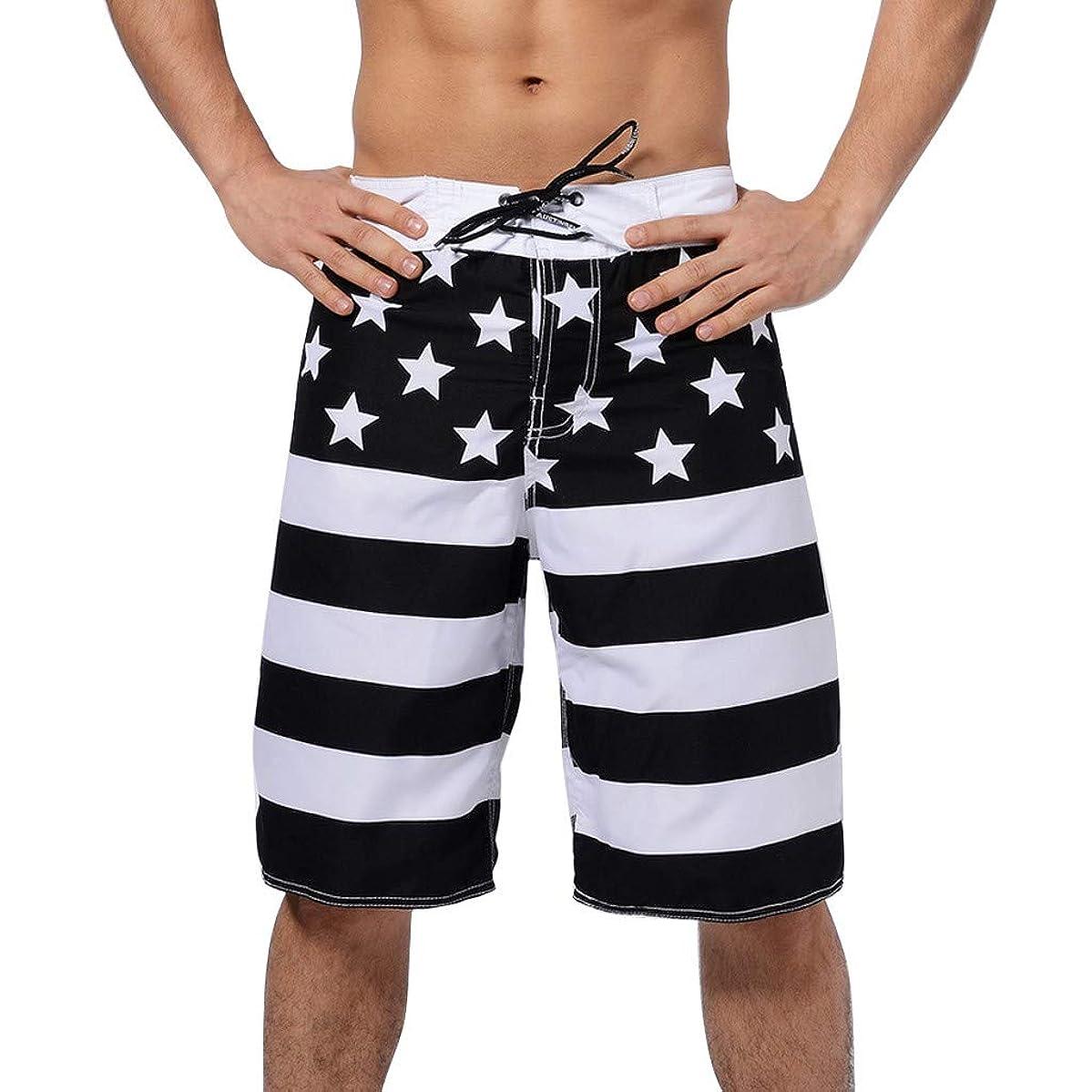 Men Swim Trunks Simayixx Men's Sportwear Quick Dry Board Shorts Teens America Flag Printed Short Pants Bathing Suit Line