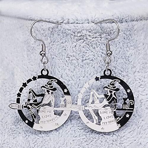Arete Pendientes Colgantes De Bruja De Acero Inoxidable Pendientes De Plata para Mujer