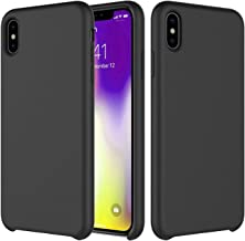 Liquid Silicone Case Compatible with iPhone Xs Max 6.5 inch (2018), Smooth Touch Feeling Gel Rubber Protection Shockproof Cover Case Soft Microfiber Cloth Lining Cushion Drop Protection-Black