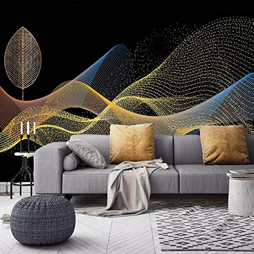 XIAOHUKK 3D Paper Peeling and pasting self-Adhesive Wallpaper Golden Leaves Abstract Smoke Wall Painting for Home Decoration Bedroom Living Room Kitchen Art Decals
