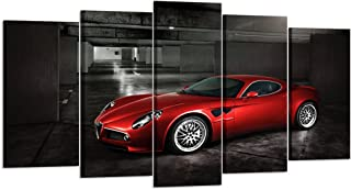 Kreative Arts - 5 Panels Red Sport Car in Black and White Posters Canvas Framed Wall Art Racing Cars Pictures Printed on Canvas Painting Artwork for Living Room Bedroom Interior Decoration