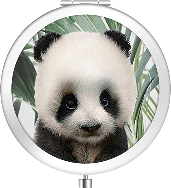 IMLONE Round Silvery Panda Compact Purse Mirror With 2X Magnification Portable Folding Makeup Mirror Great Choice And Best Gift For You And Your Friend