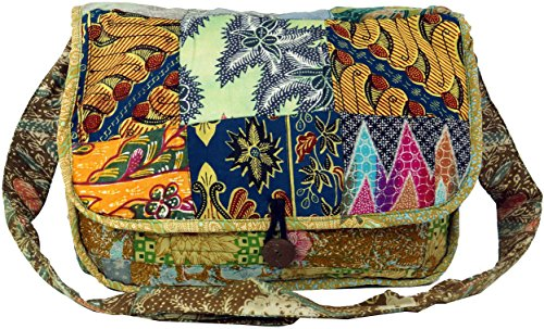 Guru-Shop Patchworktasche, Schultertasche Bali, Herren/Damen, Mehrfarbig, Baumwolle, Size:One Size, 28x38x8 cm, Alternative Umhängetasche, Handtasche aus Stoff