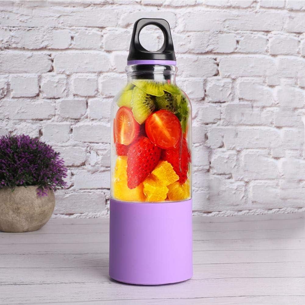 Annadue 500ML Smoothie Blender Botella Exprimidor Portátil, Máquina Automática para Hacer Jugos, Exprimidor Eléctrico de Frutas para Viajes Deportivos(Purple) Purple
