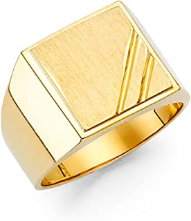14k Yellow Gold Mens Engravable Signet Ring