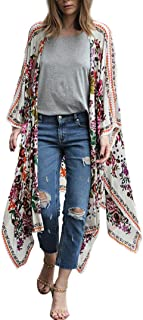 WM & MW Women 3/4 Sleeves Floral Printed Chiffon Loose Shawl Kimono Cover up Open Front Cardigan Blouse Top One Size