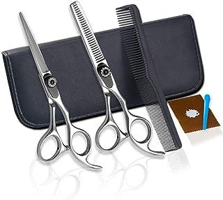 Hairdressing Scissors Set, Professional Hair Thinning Cutting Scissors Kit for Men Women Home Salon Barber Cutting Kit,Sil...