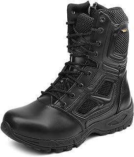 IODSON Zapatos de Hombre Botas/Botas de Combate/Botas Tácticas Ultra-Ligero Antideslizante Tela de Cuero Verdadero Transpi...
