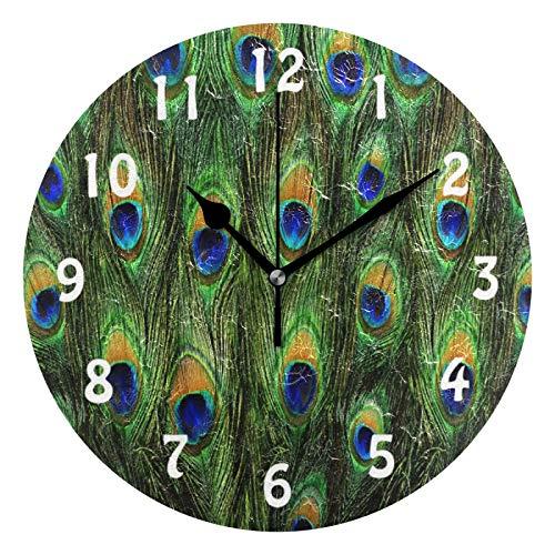 TropicalLife Lihuaval - Reloj de pared redondo con plumas de pavo real, silencioso, no hace tictac, para decoración del hogar, sala de estar, cocina, oficina, dormitorio, negro, 25 x 0,5 cm