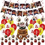 38 Pcs Dungeons_and_Dragons Theme Birthday Party Decorations,Party Supply Set for Kids with 1 Happy Birthday Banner Garland , 13 Cupcake Toppers, 18 Balloons,6 Spiral for Party Decorations