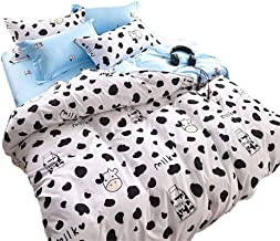 Sookie 3Pcs Duvet Small Cow Milk Cartoon Bedding (No Comforter and Sheet Duvet Cover Set with 2 Pillow Shams - Twin Size