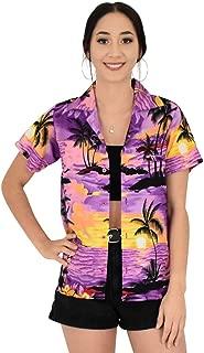 Island Style Clothing Ladies Sunset Hawaiian Shirts Hibiscus Tropical Party Cruise Clothing