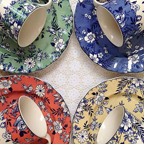 Vajilla popular europea vajilla de cerámica retro azul y blanca Platos chinos y occidentales plato taza-Tazas y bandejas de cuatro colores