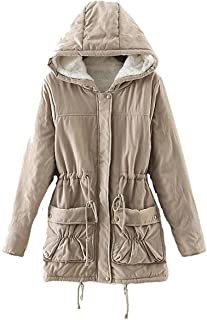 Ecupper Junior Girls Winter Mid Length Sherpa Lined Parkas Womens Fleece Jackets with Hood