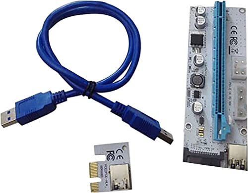 high quality PCIE Riser VER 008S new arrival 1x to 16x Graphic Extension for GPU Mining USB Riser Powered Adapter Card, 60cm USB 3.0 Cable, 4 Solid Capacitors, 2X 6PIN discount and Molex 3 Power Options(1 Pack) sale
