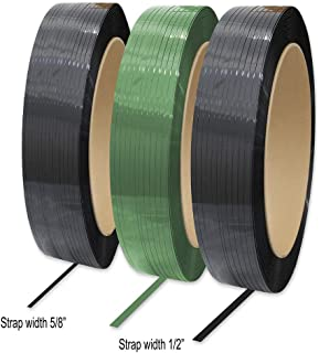 8NET Polyester Strapping,Polyester 2200 Length, 5/8'' Width, 0.025'' Thick, 900 lbs Break Strength, Core 16 x 3'' (Green)