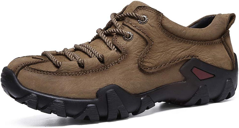 Mode skor for M än gående Hiking skor Lace Up Up Up Casual Slip on Round Toe Anti -Slip läder Upper utomhus Treking skor (Färg  Khaki, Storlek  9.5 D (M) US)  låg 40% pris