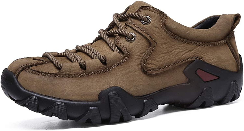 Lssige Sportschuhe für Herren Mode Turnschuhe schnüren sich oben runde Zehe Anti-Slip-Leder oberen Outdoor-Trekking-Schuhe Wandern Wanderschuhe Leichte Wanderschuhe ( Farbe   Khaki , Gre   43 EU )