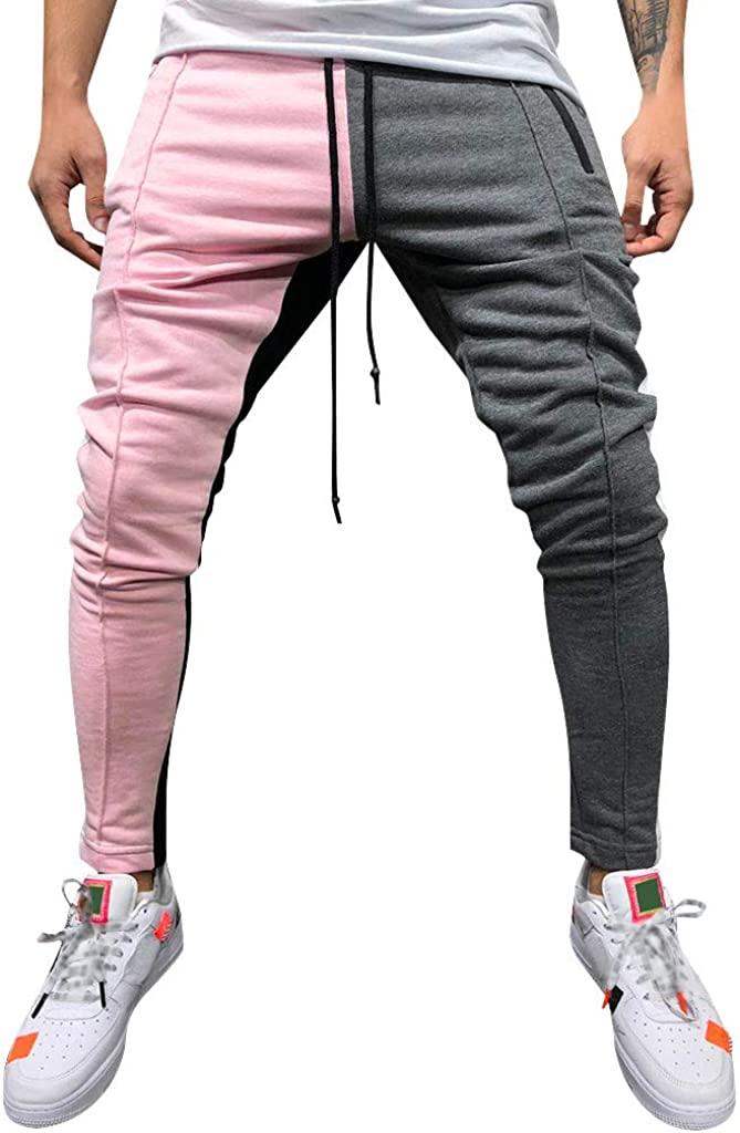 Stoota 2021 Fashion Men's Casual Solid Loose Patchwork Color Sweatpant Trousers Jogger Pants