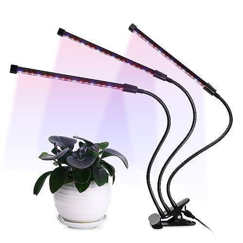 Plante DEL à lumière pulsée triple tête 36W, 5 niveaux à intensité réglable, minuterie 3/6 / 12H 64 DEL Puces à lumière croissante avec ampoules à spectre gradable rouge / bleu pour plantes d'intérieur et de serre, col de cygne réglable