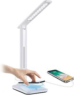 Yisun - Lámpara de escritorio LED táctil y plegable, lámpara de mesa con base de cargador inalámbrico Qi y puerto USB, lám...