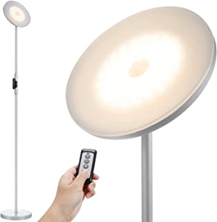 JOOFO Floor Lamp,30W/2400LM Sky LED Modern Torchiere 3 Color Temperatures Super Bright Floor Lamps-Tall Standing Pole Light with Remote & Touch Control for Living Room,Bed Room,Office(Platinum Silver)
