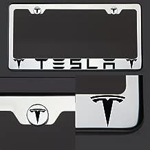 Circle Cool One Laser Engraved Black Tesla Mirror Stainless Steel License Plate Frame Holder Front Or Rear Bracket Steel Screw Cap