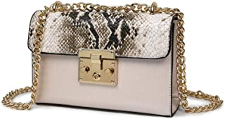 ZZZ Fd Handbags Bag Ladies shoulder Women Serpentine Leather Metallic Zip Lock Small Cha Bags Flap Bags fashion (Color : Beige)